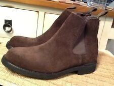 Lands' End Brown Suede Pull-On Ankle Boots Men's Size 8.5 Style 2442-EUC