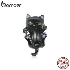 BAMOER Real S925 Sterling Silver Charms Black Enamel Cartoon cat For Bracelets