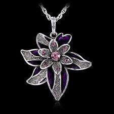 Retro Lucky Leaf Flower Pendant Necklace Crystal Rhinestone Long Silver Chain