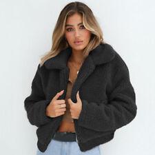 Womens Warm Fluffy Coat Fleece Fur Jacket Teddy Bear Outerwear Hoodie Plus Size