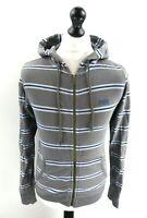 SUPERDRY Mens Hoodie Jacket XS Grey Blue White Stripes Cotton