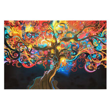 Trippy Art 50x33cm Wall 1pc Abstract Decor Psychedelic Silk Poster Tree Home