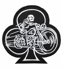 Playing Card Club Patch IronSew On Badge Skeleton Biker Motorcycle A373