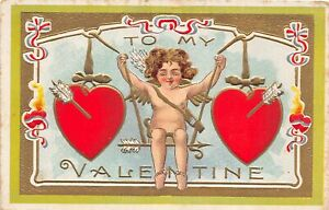 H66/ Valentine's Day Love Holiday Postcard c1910 Cupid Gold-Lined Hearts9
