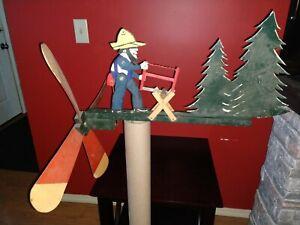 Antique Vintage Lumberjack Sawing Whirligig Folk Art Working Complete Very Large