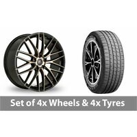 "4 x 19"" AC Wheels Syclone Black Alloy Wheel Rims and Tyres -  235/45/19"