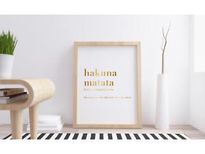 Hakuna Matata Definition Meaning Metallic Foil Art Print. Disney Lion King Quote