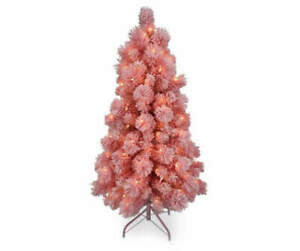4' Dancer Pink Flocked Pre-Lit Artificial Christmas Trees with Clear Lights