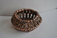 Kirks Folly Copper Tone Beaded And Crystal Stretch Bracelet