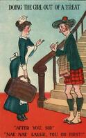 VINTAGE COMIC MAID WANTS to LOOK up the KILT of A SKINNY SCOTSMAN POSTCARD