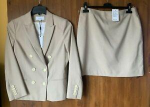 RRP £350 - REISS SKIRT SUIT SET Beige Double Breasted Jacket Blazer UK 12 - BNWT
