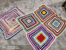 Handmade Multicoloured Rainbow Crochet Throw/baby blanket PAIR OF