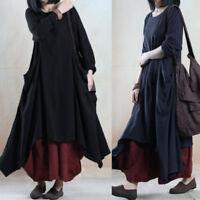 Plus Women's Long Sleeve Asymmetrical Casual Irregular Long Shirt Dress Kaftan