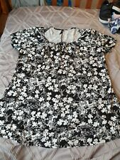 Evans Black and White Floral Top Size 18