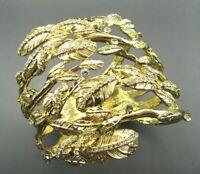 New RACHEL ZOE GOLD LEAF CRYSTAL Cuff Bracelet WRAP HINGED BANGLE Leaves PRETTY!