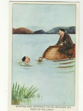 New listing Boating & Swimming On Most Of The Lakes Comic Postcard Abraham Cumbria 399c