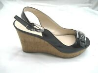 Franco Sarto size 9M Carnival black peep toe wedges womens ladies sandals shoes