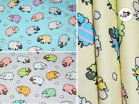 """Premium Printed Cute Sheep PolyCotton Fabric ,44"""" Wide High Quality, 3 Colours"""