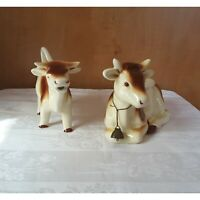 Goebel Vintage 1960's Brown and White Cow Creamer and Cow Pot with Lid