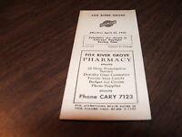 APRIL 1954 C&NW CHICAGO & NORTH WESTERN FOX RIVER GROVE, IL PUBLIC TIMETABLE