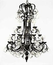 "Large Foyer/Entryway Wrought Iron Chandelier 50"" Inches With Crystal Lighting"