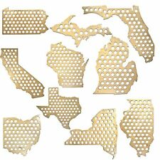 All 50 States Beer Cap Maps - Michigan Beer Cap Map MI - Glossy Wood - Skyline