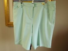 GOLF AMERICA Green White Striped Seersucker Bermuda Shorts Size 18