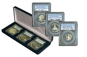 1976 PCGS Autographed Bicentennial Silver Proof Set Quarter Half Dollar & Dollar