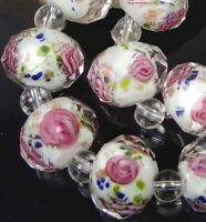 14 Czech Glass Faceted Rondelle Beads - Encased Rose Flower II 12x8mm