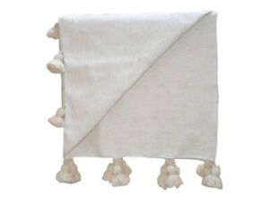 100% Natural Moroccan Pom Pom Bed Covering, Ivory White Wool Blanket-Queen, King
