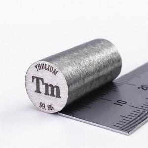 Thulium Metal Rod 99.95% 10 diameter x 20mm length 14.7grams Element Tm Specimen