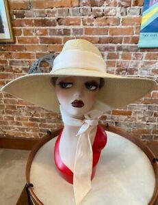 Isaac Mizrahi Natural Wide Brim Panama Hat with Tie New Pool Beach