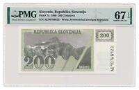 SLOVENIA banknote 200 Tolarjev 1990 PMG MS 67 Superb Gem Uncirculated