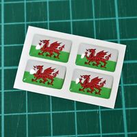 4x Wales Welsh Flag Domed Stickers - High Gloss Raised Gel Finish