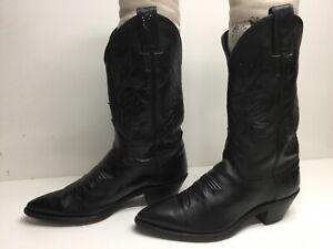 VTG WOMENS JUSTIN COWBOY BLACK BOOTS SIZE 6 B