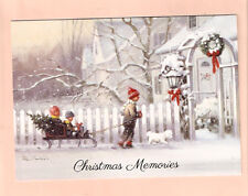 Bichon Frise Snow Sled Christmas Tree Memories Fully Decorated Cards Box of 18