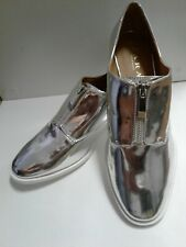 Zara Silver Zipper Loafer Flats Shoes Size 39 US 8 New Without Tags