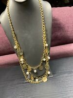 Vintage Quality Multi Strand Bohemian Coin  Pearl Beaded Bib Statement Necklace