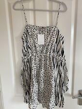 ASOS BNWT Black And White Leopard Print Summer Midi Dress Size 14