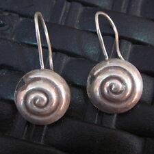 Spiral Shell round Filigree texture Fine Silver Earrings Hill Tribe Karen