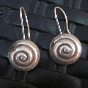 Fine Silver Earrings Hill Tribe Karen Spiral Shell round Filigree texture