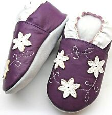 Minishoezoo flower purple 4-5 Toddler soft sole leater  girl shoes slippers
