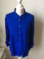 M&S Collection Cobalt Blue Long Sleeve Button Collar Shirt Blouse Size 12 Office