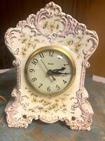 Vintage Floral Ceramic Mantle Clock - Electric
