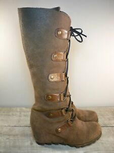 Sorel NL1918 Womens Joan Of Arctic Wedge Tall Leather Snow Winter Boots Size 7.5