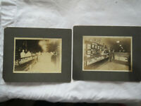 """2 Photos of Durst CIGAR Store Pool Hall Cabinet Photo Muncie Indiana 5"""" x 7"""""""