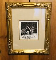 LeConte Stewart Signed Rare Framed Artwork Beautuful Gold Gilt Styled Frame