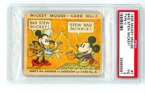 1935 R89 Gum Inc. Mickey Mouse PSA 3 #7 Type 2 Bad Stew Mickey! Minnie Disney
