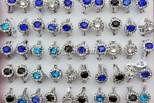 Jewelry wholesale Lots 5Pcs CZ Zirconia Rhinestone Silver Plated Rings FREE