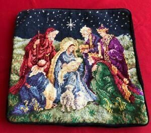 """Needlepoint Pillow Casing """"Nativity Scene,""""13.5 x 13.5 Inches, Velvet Backing"""